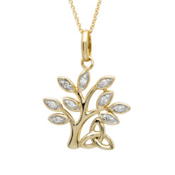14K Tree of Life with Trinity Knot Diamond Set Pendant