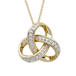 14K Yellow Gold Round Trinity Knot Diamond Pendant.