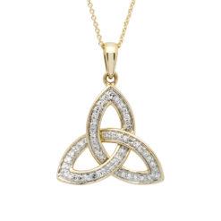14K_14P684 Trinity Knot 14Karat Gold Diamond Set Pendant