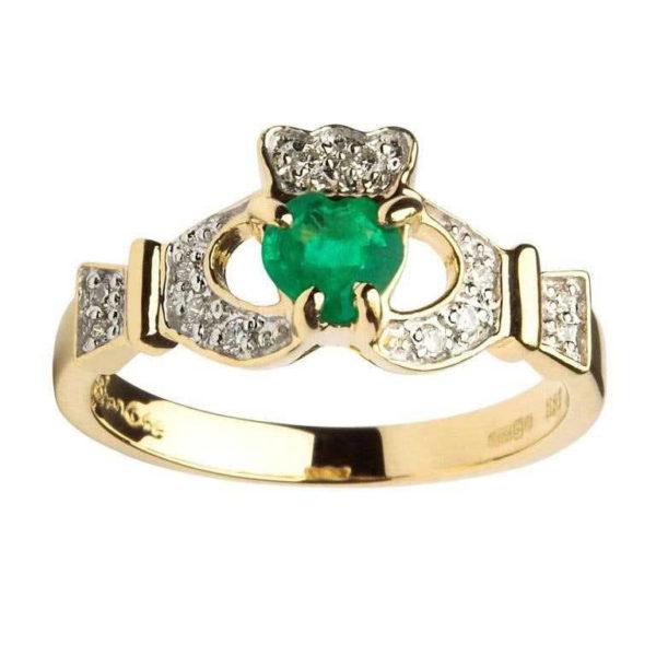 Gold Claddagh Emerald set with Diamonds