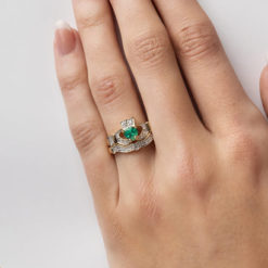 Emerald Claddagh with Band _ Modeled