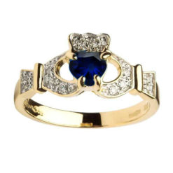 Yellow Gold Claddagh Sapphire set with Diamonds