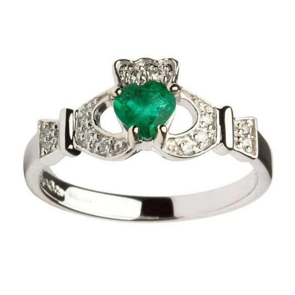 White Gold Claddagh Emerald set with Diamonds