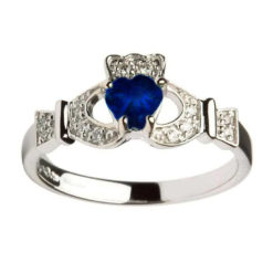 White Gold Claddagh Sapphire set with Diamonds