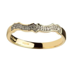 Yellow 14K Diamond Claddagh Fitted Band