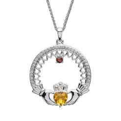 A Mother's Love Birthstone Claddagh Pendant 1 Stone