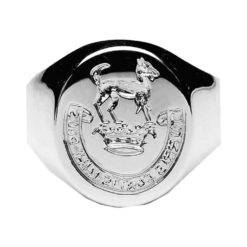 Extra Heavy Hand Engraved Seal Ring White Gold