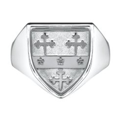 Heavy Shield Gents Coat of Arms Ring 1 WG Metal