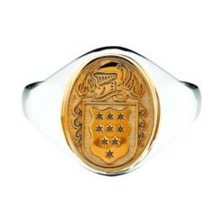 Petite Oval Ladies Coat of Arms Ring 1 Mixed Metal