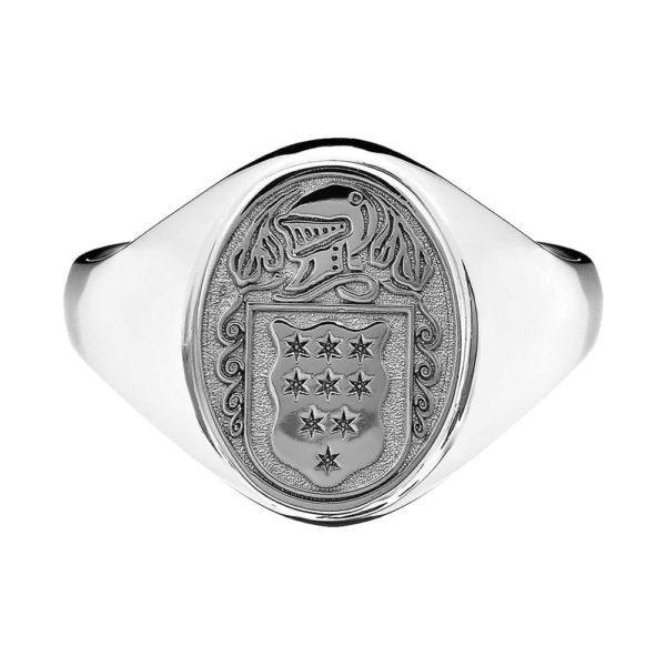 Petite Oval Ladies Coat of Arms Ring 1 SS Metal