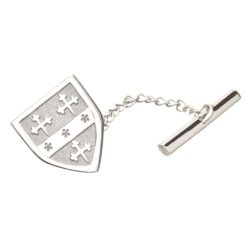 Shield Coat of Arms Tie Tac Silver White Gold
