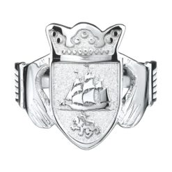Gents Claddagh Coat of Arms Ring WG SS