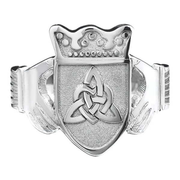 Ladies Claddagh Coat of Arms Ring White Gold