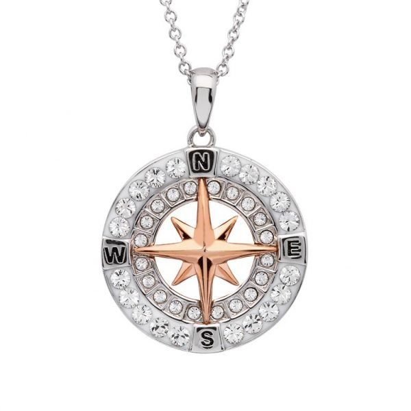 Silver and Rose Gold Compass Pendant Necklace with Sterling Silver and Swarovski Crystals Nautical Jewelry
