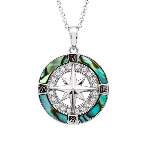 Abalone Shell Compass Pendant Necklace with Sterling Silver and Swarovski Crystals Nautical Jewelry