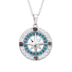 Indicolite Crystal Compass Pendant