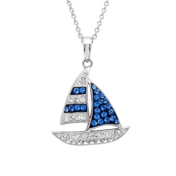 Swarovski Sailboat Pendant Necklace with Sterling Silver and Swarovski Crystals Nautical Jewelry