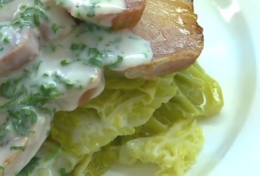 Parsley Sauce on Bacon with Cabbage