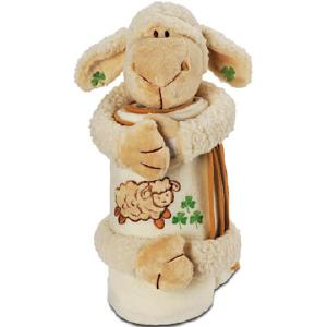 Little Lamb Buddy holding a rolled up blanket with sheep and shamrocks on it.