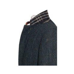 Kavanagh Poets' Series Blue Herringbone Irish Tweed Collar Detail