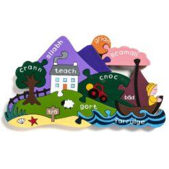 Irish Landscape Jigsaw as Gaeilge