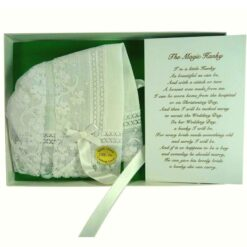 An Irish Linen Magic Bonnet with Poem for Christenings
