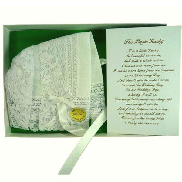 An Irish Linen Magic Bonnet with Poem for Christenings