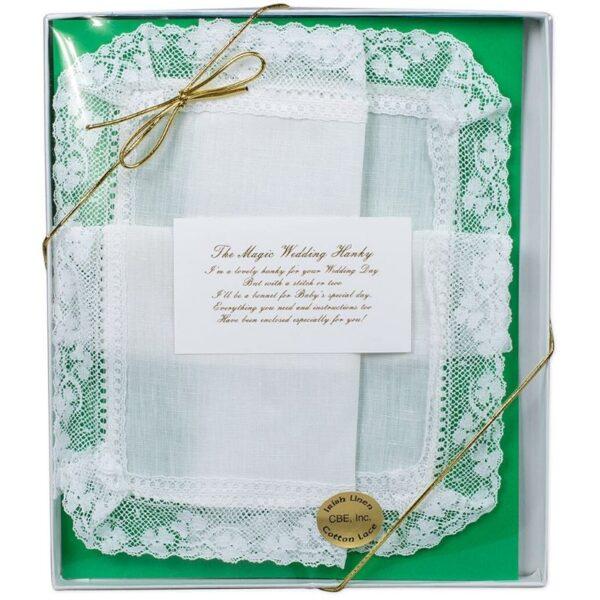 Magic Wedding Hanky Irish Linen with Lace Edges