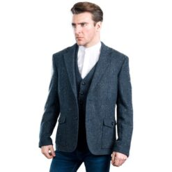 Kavanagh Irish Tweed Jacket Blue Herringbone Modeled