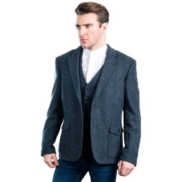 Kavanagh Irish Tweed Jacket Blue Herringbone Modeled
