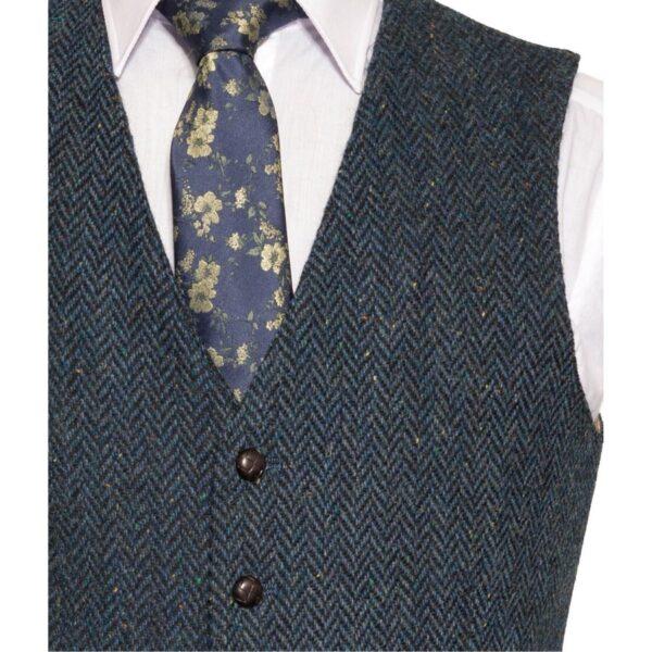 WB Yeats Poets' Series Blue Herringbone Irish Tweed Detail