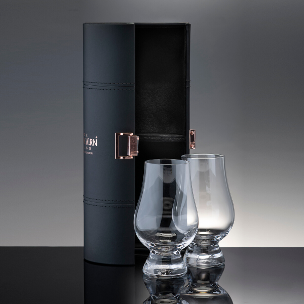 Glencairn Whisky Glass Travel Case with two whisky glasses included