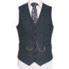 WB Yeats Poets' Series Blue Herringbone Irish Tweed Waistcoat