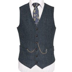 WB Yeats Poets' Series Blue Herringbone Irish Tweed Waistcoat