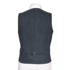 WB Yeats Poets' Series Blue Herringbone Irish Tweed Waistcoat Back