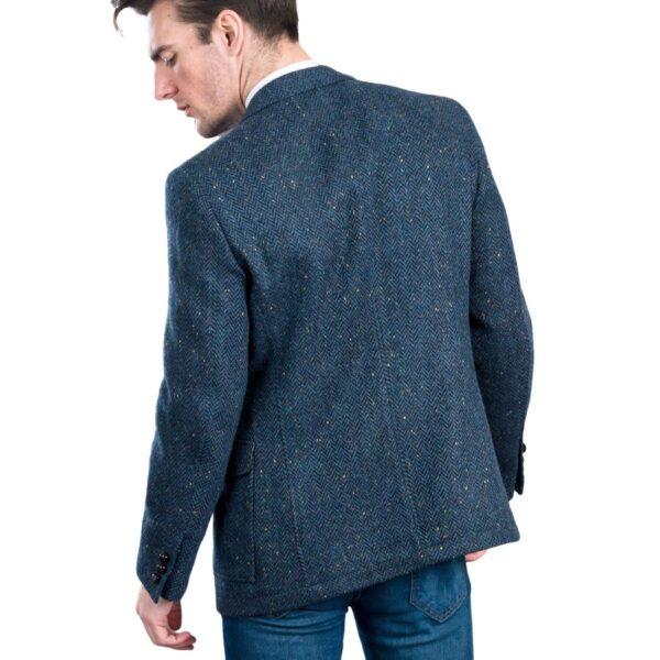 Kavanagh Irish Tweed Jacket Blue Herringbone Modeled Back