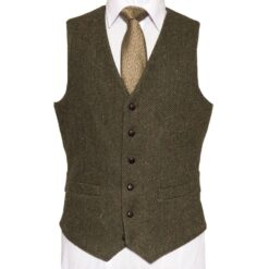 McDonagh Heritage Waistcoat with green herringbone Irish Tweed