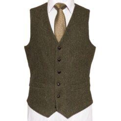 McDonagh Heritage Waistcoat with green herringbone Irish Tweed