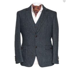 Kavanagh Irish Tweed Jacket Blue Herringbone