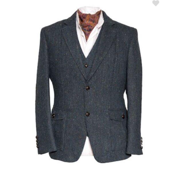 Kavanagh Irish Tweed Jacket Blue Herringbone