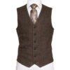 Oscar Wilde Waistcoat with brown hopsack Irish Tweed
