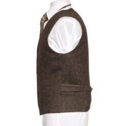 Oscar Wilde Waistcoat with brown hopsack Irish Tweed