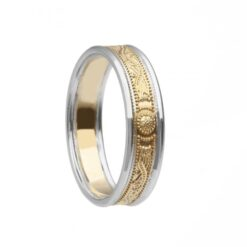 Very Narrow With Rails Yellow Gold White Rails Celtic Warrior Wedding Ring