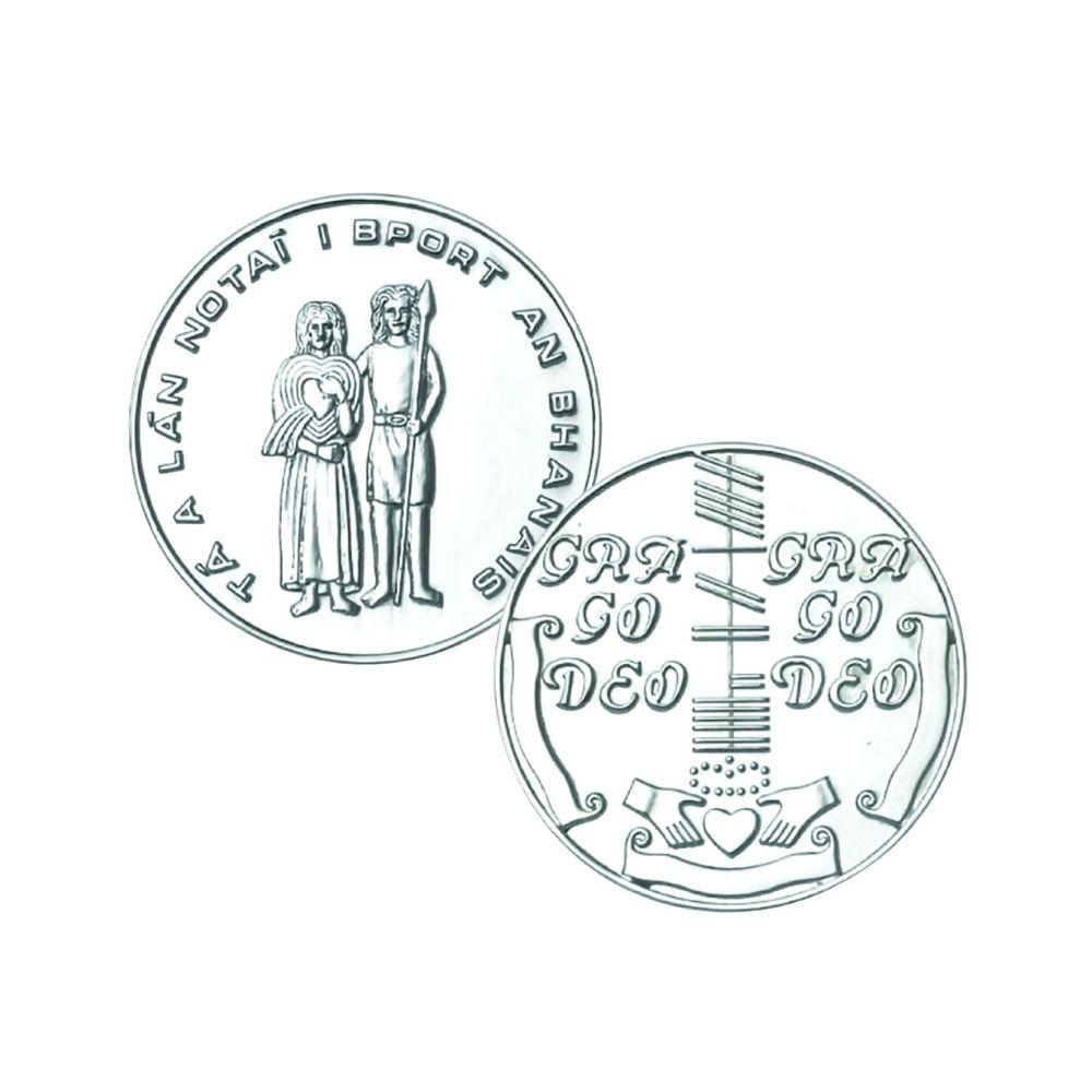 Irish Wedding Token Coin in Sterling Silver