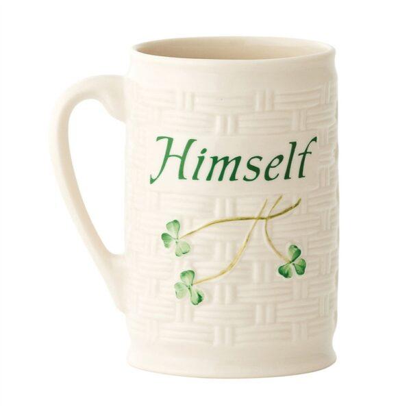 Belleek Himself Mug with hand-painted shamrocks