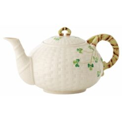 Shamrock Teapot Belleek Basketweave Shamrock Collection of China