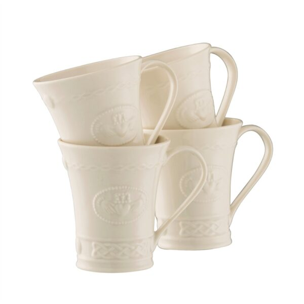Belleek China Set of 4 Claddagh Mugs