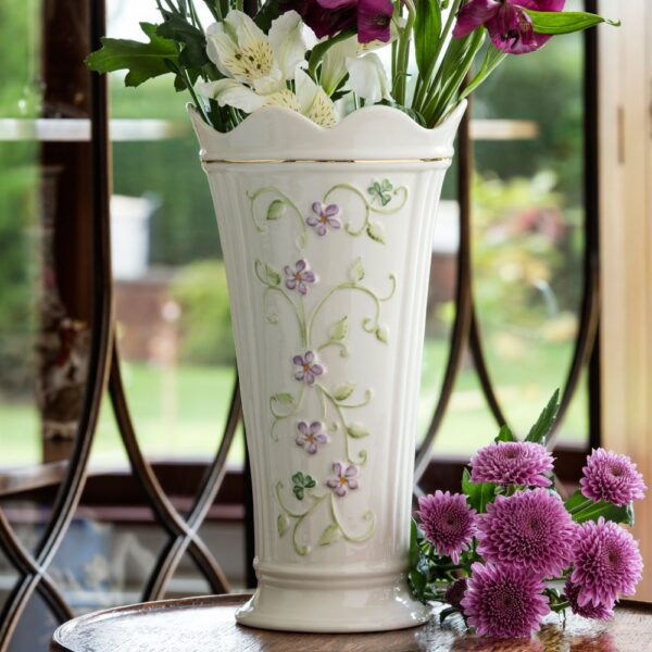 Irish Flax Vase with hand-painted pastel Flax flowers