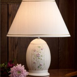 Irish Flax Lamp with hand-painted pastel Flax flowers Shade included