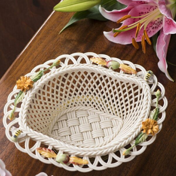 collectible Belleek Autumn Basket Handwoven china and hand-painted decorations.